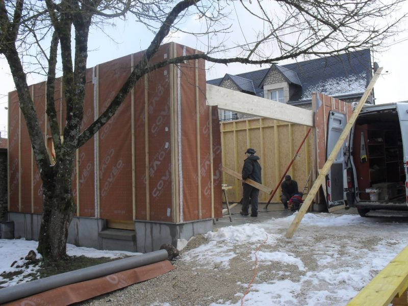 Ossature bois garage terrasse diverses for Cout garage ossature bois