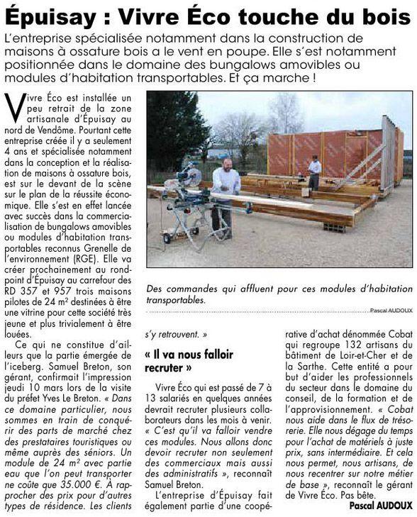 Vivre eco constructeur maison bois cologique vie de l for Constructeur de maison loir et cher